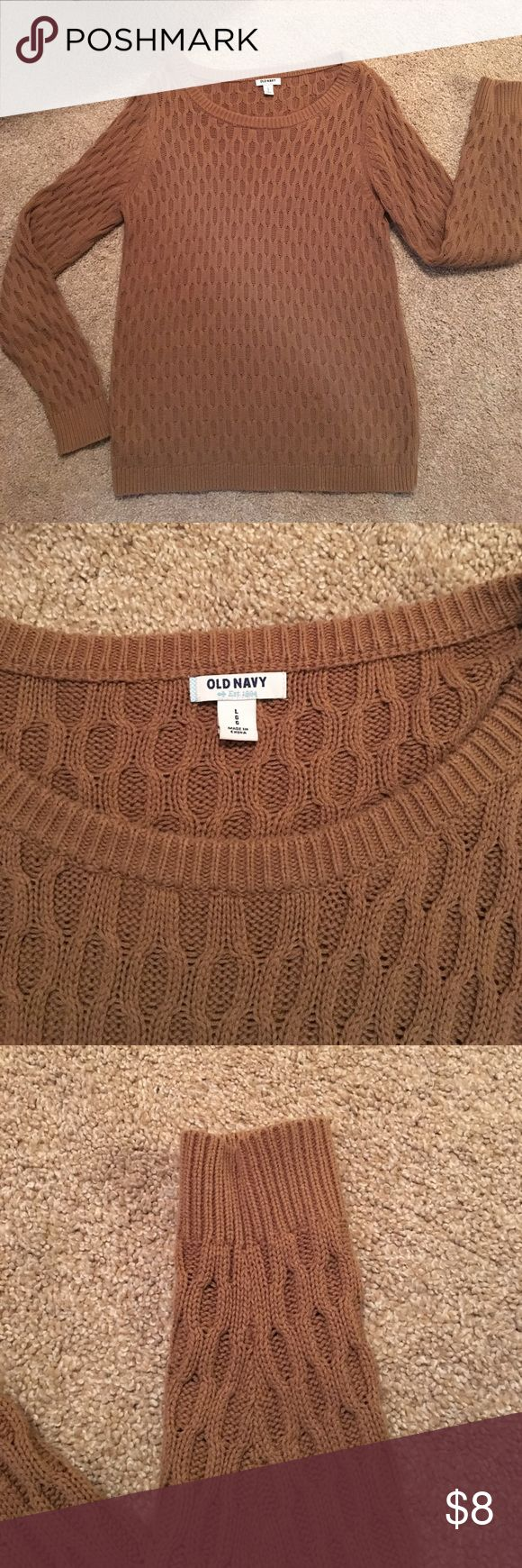 Women's Tan Old Navy Sweater Perfect for leggings or jeans. Woven texture. Old Navy Sweaters Crew & Scoop Necks