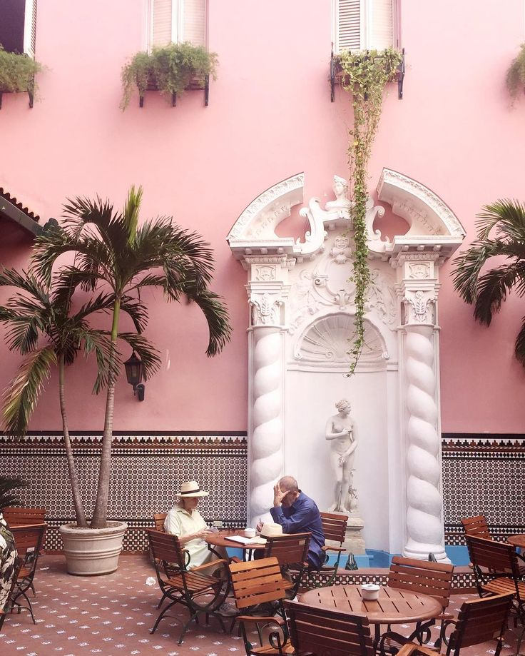 "415 Likes, 12 Comments - Victoria Berezhna (@mybougeotte) on Instagram: ""The beautiful patio at Hotel Sevilla, where we are currently sat with a mojito in hand"""