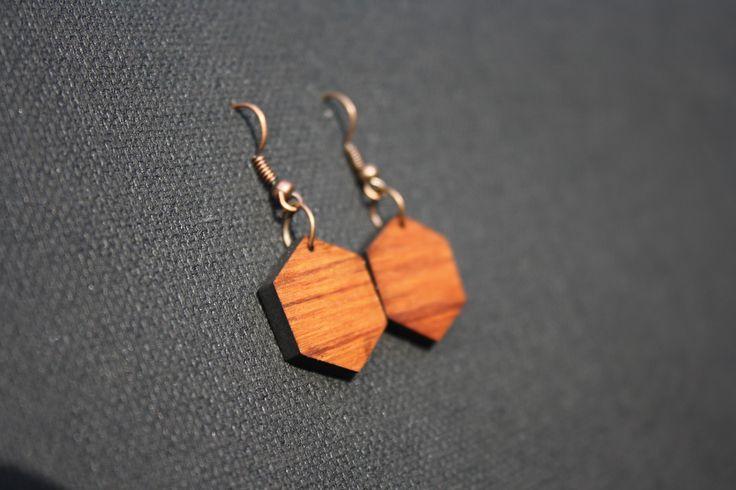 Hexagon geometric rimu earrings - $30