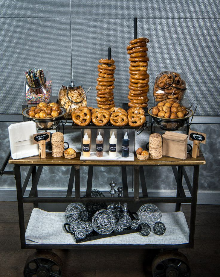 Love this pretzel bar for cocktail hour or as a late night snack