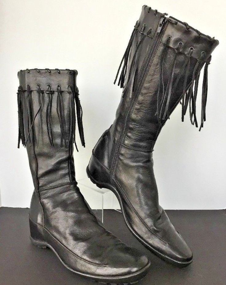 Womens 10 EU41 ASH Boots Black Leather Wedge Zip Fringe Top Lined Reverse Seams #Ash #KneeHighBoots #PartyWinter