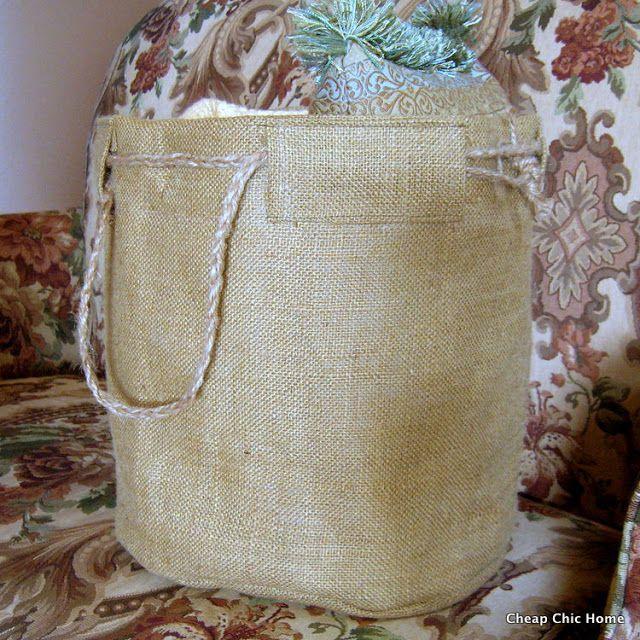 Cheap Chic Home: Burlap Basket Tutorial - prefect for veggie garden harvesting