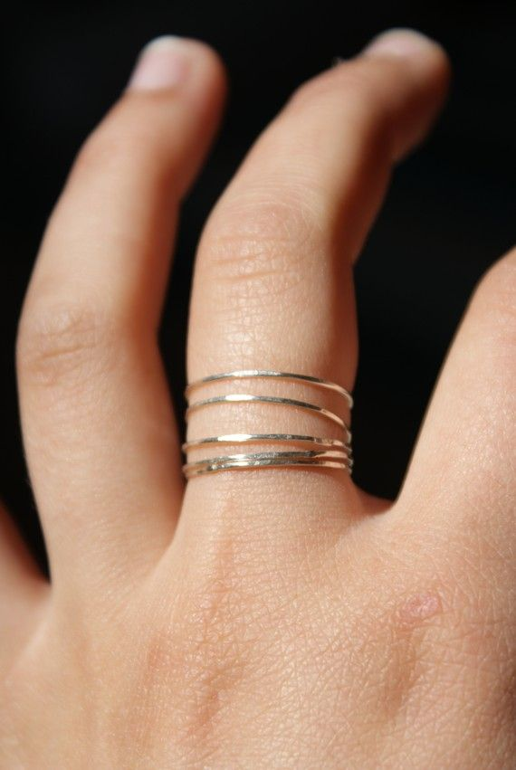 Sterling silver stacking rings set of 5 ultra thin by hannahnaomi