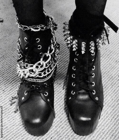 I love these punk boots, especially because the chains and studs are both different on each boot!