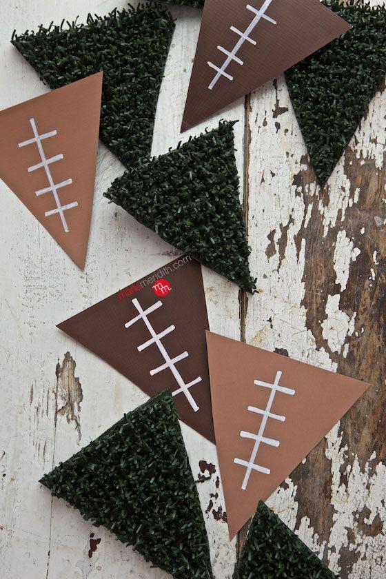 DIY Football Pennant Banner & RITZ Caprese   Game day recipes & decorating ideas! #HomeBowlHeroContest   MarlaMeridith.com