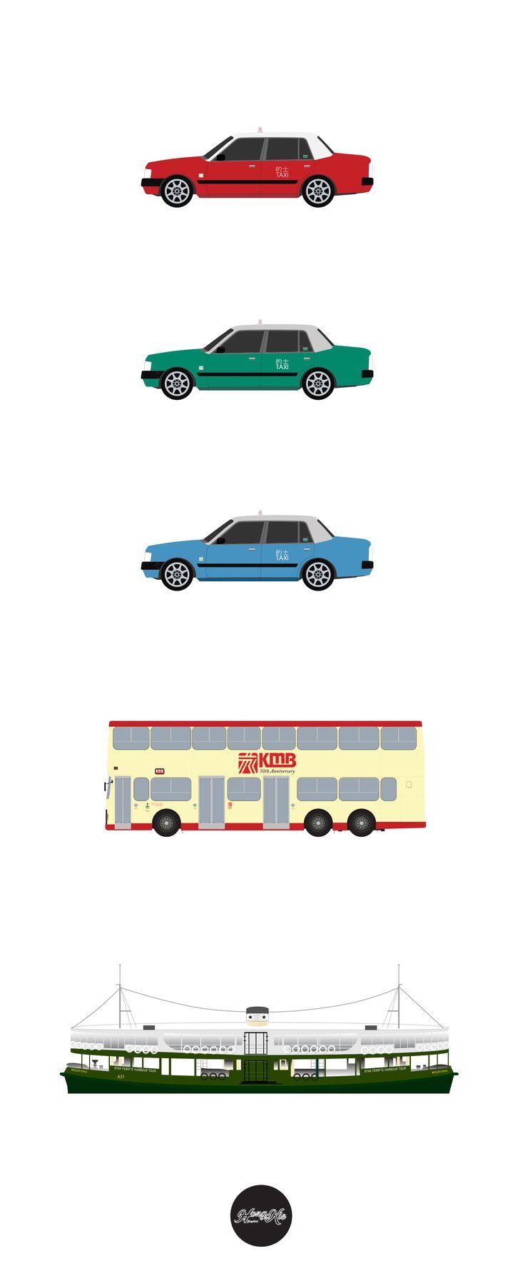 Hong Kong Style [Project 03] Hong Kong Transportation by Hilton Chau © HongKieGraphics 2017 #HongKong #Car #Ferry #Bus #Class #Illustration #Graphic #Art #Cantonese #English #Culture #Street