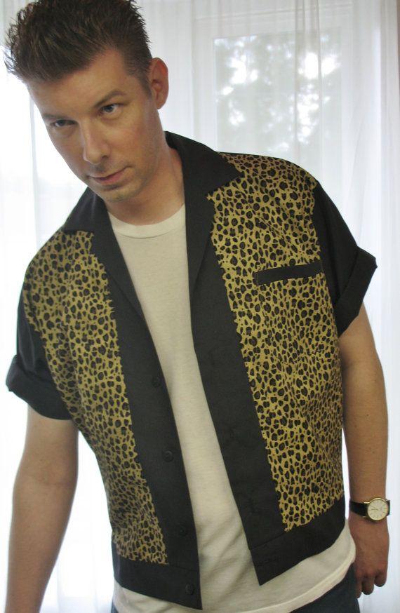 Mens Rockabilly Shirt Jac Leopard Print by LennyShirts on Etsy, $30.99