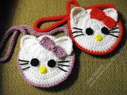 adorable Kitty Pocket Change Purse; for Little girls - free crochet pattern. I want to make this! LD