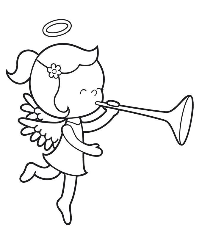 ausmalbild engel kostenlose malvorlage engel mit trompete kostenlos ausdrucken vorlagen. Black Bedroom Furniture Sets. Home Design Ideas