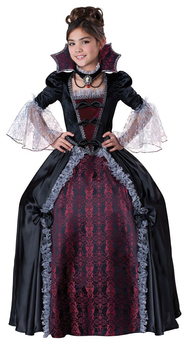 Vampire Costumes for Girls | Super Deluxe Vampiress of Versailles Girls Costume - Vampire Costumes