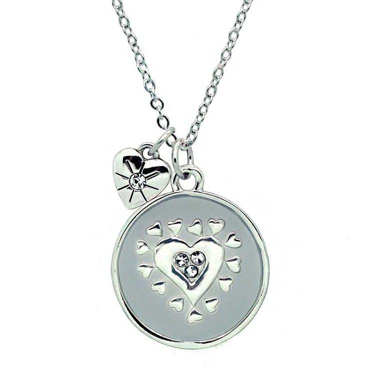 Mirabella Heart Necklace, Grey/Silver