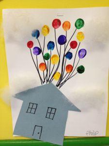 letter U craft-Up (finger print balloons)