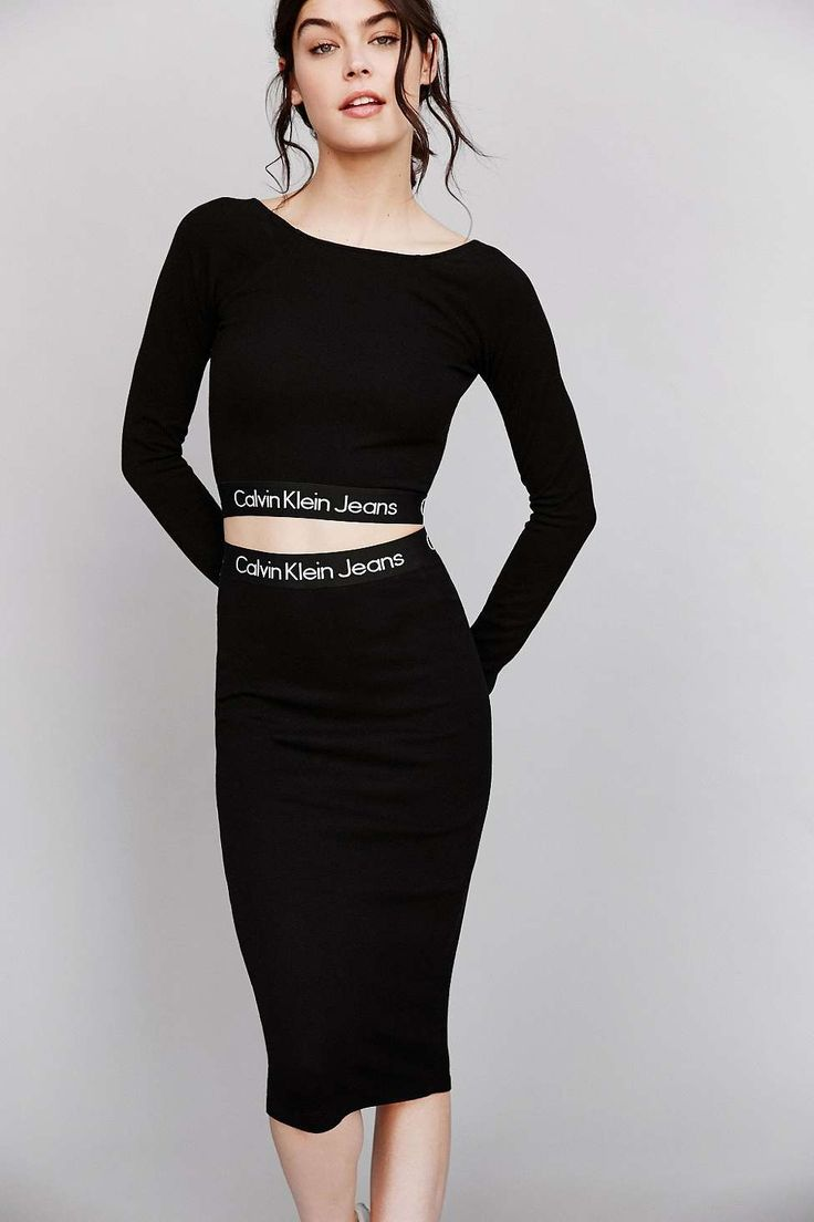 Calvin Klein for UO Black Tube Midi Skirt And Top <3