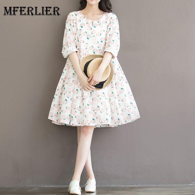 Женское платье Сладкий персик печати Хлопок Свободные с длинным рукавом женское платье с круглым вырезом Высокая Талия Vestidos De Festa Размер S-2XL