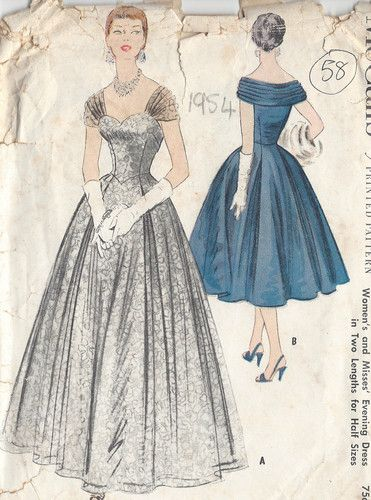 "1954 Vintage Sewing Pattern EVENING DRESS B35"" (58) | eBay"
