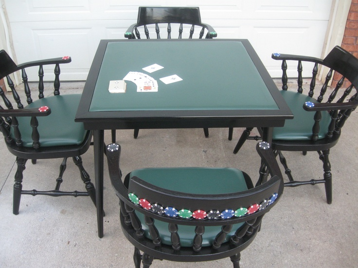 Thrift Store Table Chairs Turned Into A Poker Table So