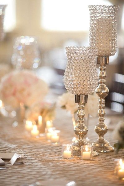 crystal and silver candle holders
