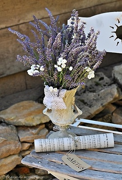 Lavender in a vintage vase for #TheInspiredTable