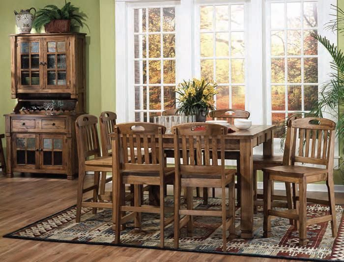 Tall Dining Tables Are Very Popular And This Rustic Oak Family Table Can Fit Larger Barstool Type Chairs Comfortably Seat Up To Eight People Around
