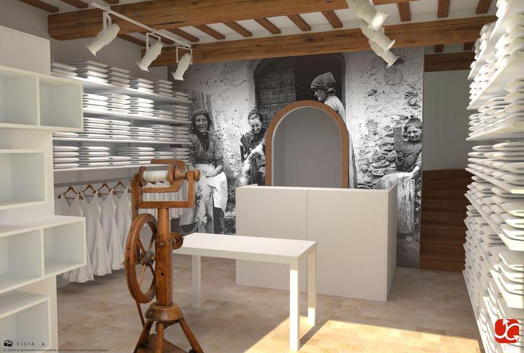 Render progetto arredamento negozio d'abbigliamento