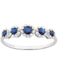 Rings: 9ct White Gold Diamond & Sapphire Ring!