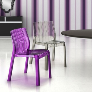 ruffle transparent purple dining chair set of four zuo modern in purple gray u0026