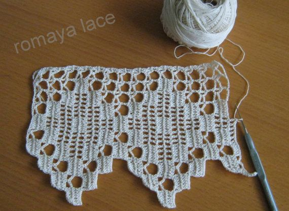 Handmade crochet lace  trim Cambrian border ecru by romayacrochet