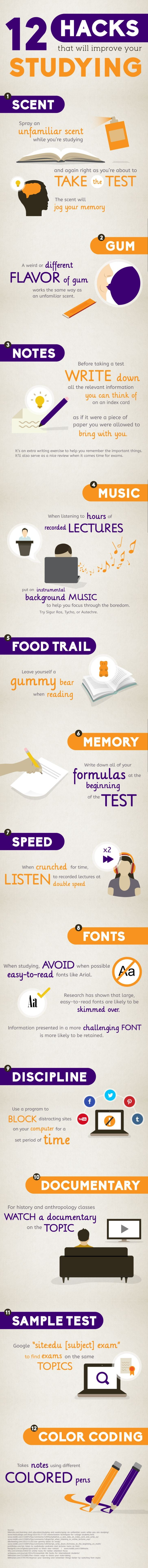 The 12 Hacks That Will Improve Your Studying Infographic present a fun list of hacks that can help you improve study habits and will help you study smarter.