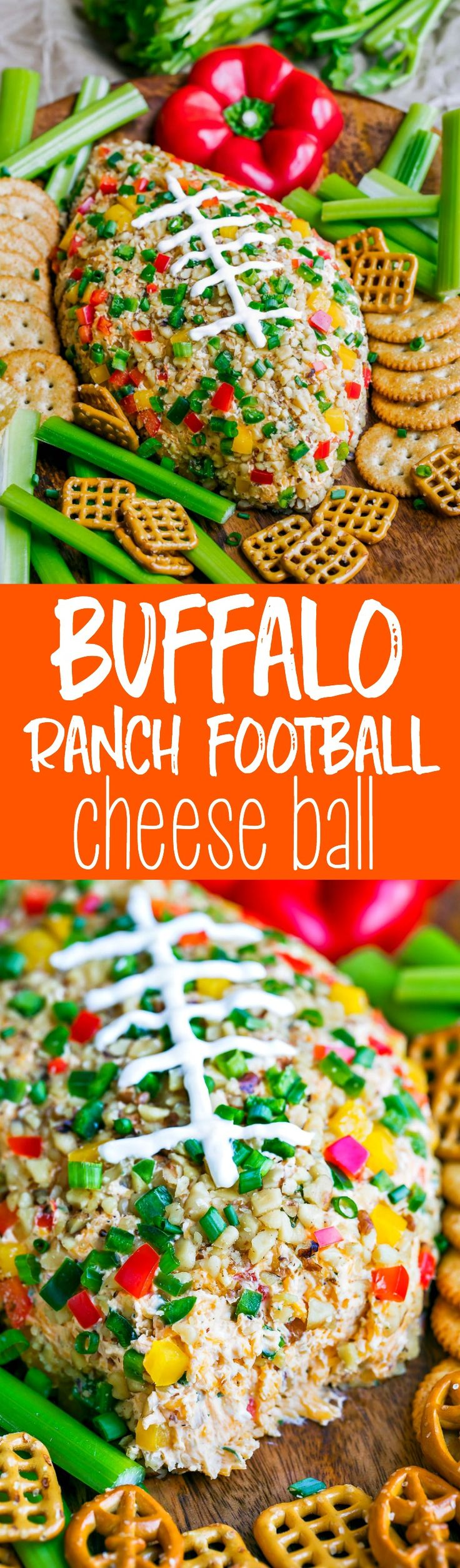 You're guaranteed touchdown status at your next game day party with this Buffalo Ranch Football Cheese Ball! This crazy easy appetizer can be made in advance and is portable and DELICIOUS! Sponsored by Save-A-Lot