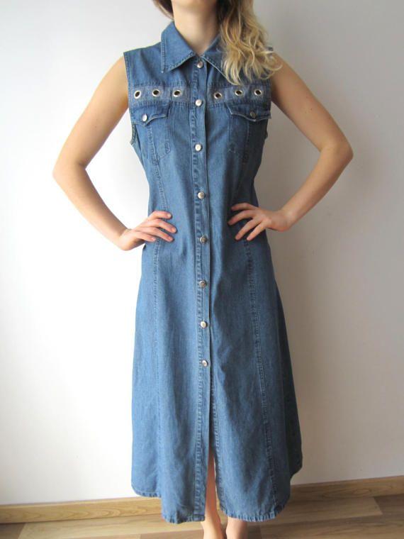 Denim Shirt Dress Long Denim Dress Button Up Denim Dress