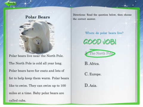 Kids Reading Comprehension Level 1 Passages For iPad ($0.99) an interactive and educational app, developed to assist parents, teachers and caregivers in teaching their children to learn the essential skill of reading comprehension.  Featuring:  ✦ The ability to keep track of multiple readers (up to four).  ✦ Engaging and educational passages pertinent to everyday life.  ✦ Follow-up questions   ✦ Progress reports for each child accessible from within the app.