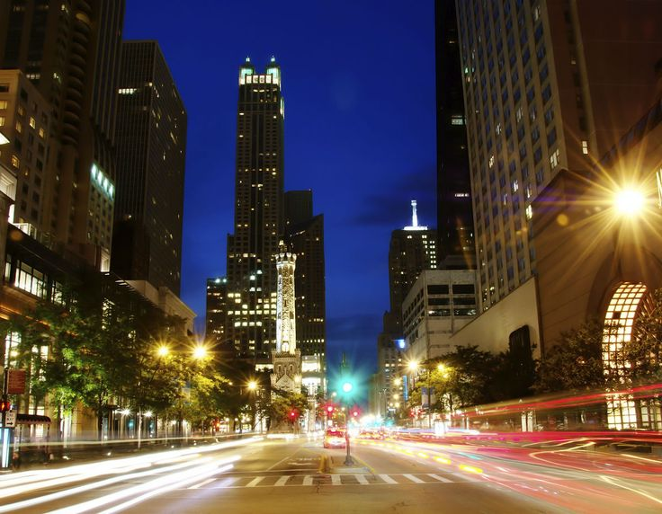 Chicago at night. According to the National Highway