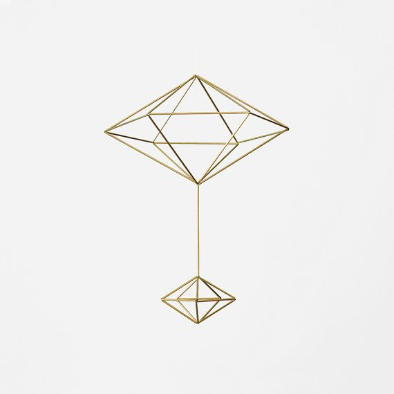 Brass Pendulum Himmeli  / Modern Hanging Mobile / Geometric Sculpture / Minimalist Home Decor