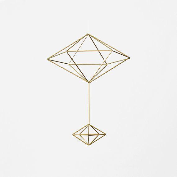 Brass Pendulum Himmeli / Modern Hanging Mobile / Geometric Sculpture / Minimalist Home Decor