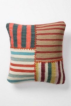 Anthropologie pillow - This would be a nice way to use some handwoven scraps.