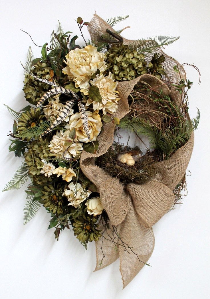 Country Front Door Wreath, Everyday Wreath, Mothers Day Wreath, Elegant Flowers, Honeysuckle, Summer Wreath, Country Decor.