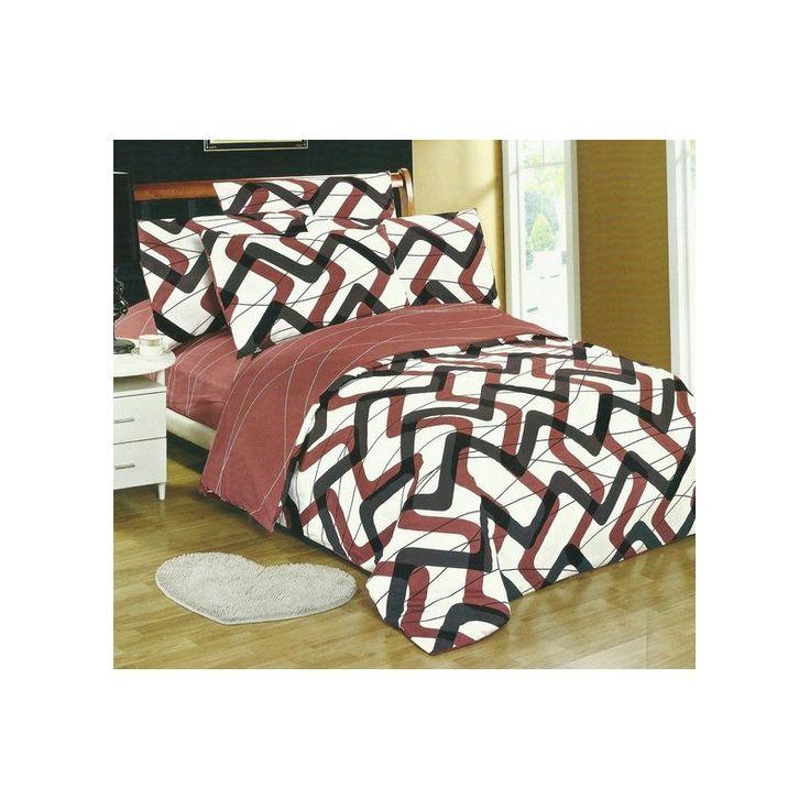 Obliečky na posteľ bielej farby s hnedo čiernymi vzormi - domtextilu.sk