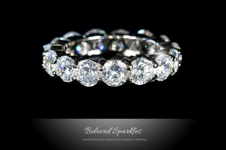 Wedding Ring Bands >> Elana Clear Diamond Eternity Stackable Ring | 8ct | Cubic Zirconia | Sterling Silver | Sterling ...