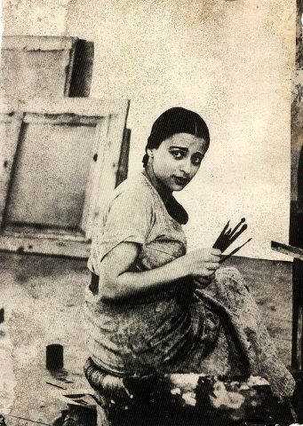 Amrita Sher-Gil (1913-1941) - Indian painter, sometimes known as India's Frida Kahlo, and today considered an important woman painter of 20th century India.