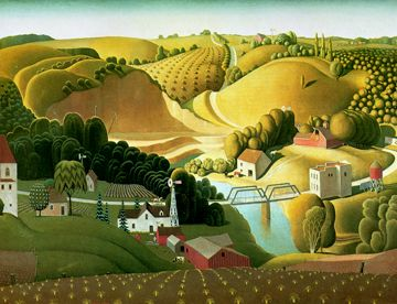 "My parents have this in their bathroom in a gold frame and I have always, always loved it.  It fits pretty much not at all with everything else I love, but I still think it's awesome.  Grant Wood, ""Stone City""."