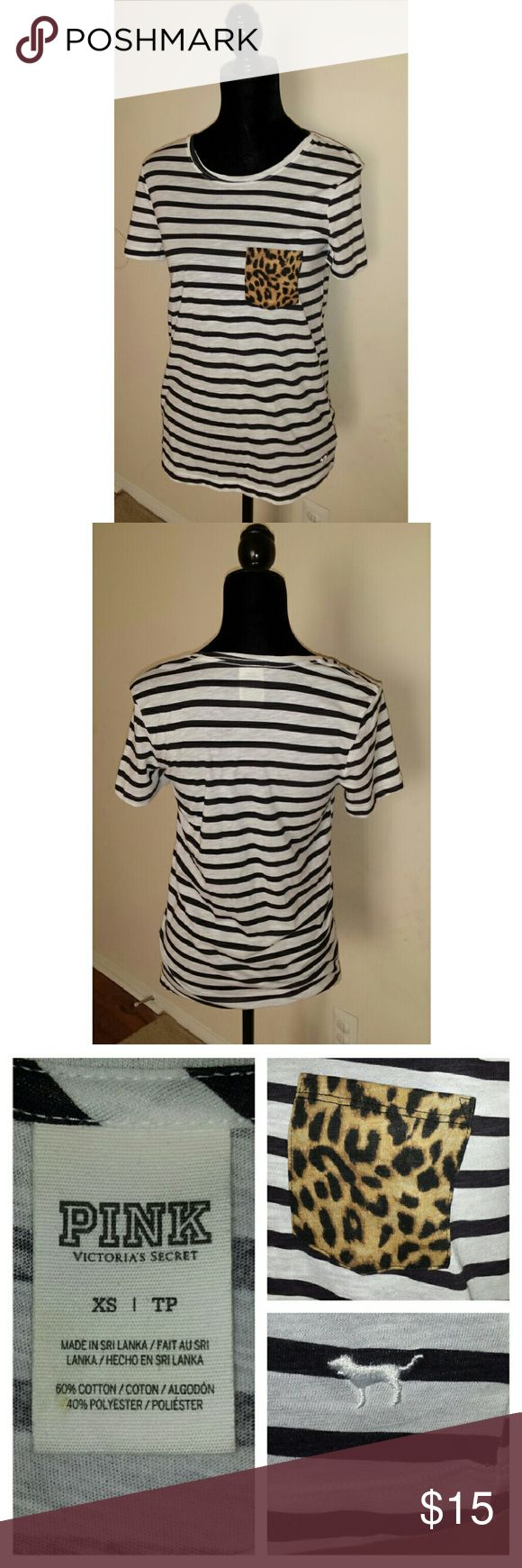 Victoria Secret PINK Stripe Boyfriend Pocket Shirt * * * Great pre-owned condition! * * *   Women's  Victoria's Secret PINK Size: XS Black/White Stripes Boyfriend Pocket T-Shirt Short Sleeve Leopard/Cheetah Print Pocket  60% Cotton / 40% Polyester  Smoke and pet-free home PINK Victoria's Secret Tops Tees - Short Sleeve