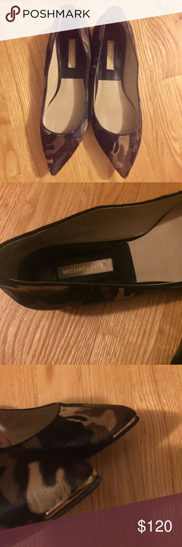 Michael Kors Camo Flats Excellent condition! Michael Kors Camo Calf Hair Flats Michael Kors Shoes Flats & Loafers