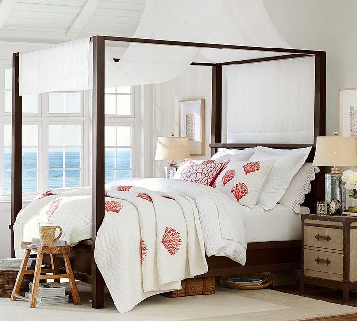 redecorating bedroom%0A Linen shears and dark woods on this canopy bed remind one of British  Colonial Africa