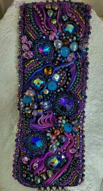Shibori silk ribbon bead embroidered cuff by #4uidzne