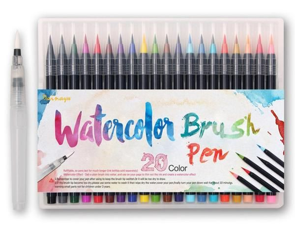 Free Worldwide Shipping & 100% Money-Back Guarantee Gorgeous, vibrant watercolor ink Includes: 20 Watercolor Brush Pens, and one extra water brWatercolor Brush Pens
