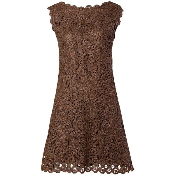 Pre-owned 1960s Brown Scalloped Hand Crochet Raffia Lace Shift Dress (3,515 CNY) ❤ liked on Polyvore