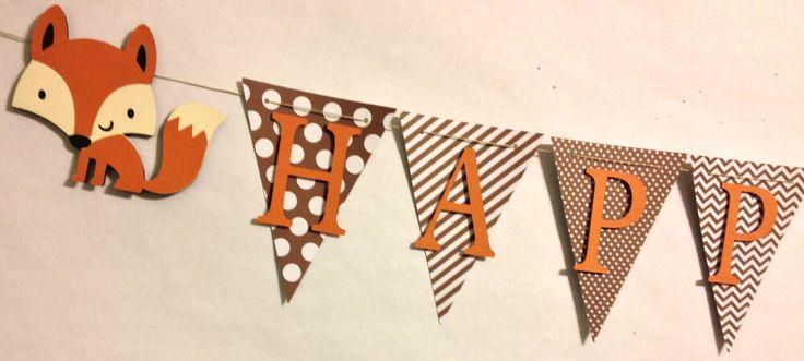 Renard sur le thème joyeux anniversaire bannière, décorations de fête, fête d'anniversaire, des bois, animaux de la forêt par FitchCraftCreations sur Etsy https://www.etsy.com/fr/listing/220020259/renard-sur-le-theme-joyeux-anniversaire
