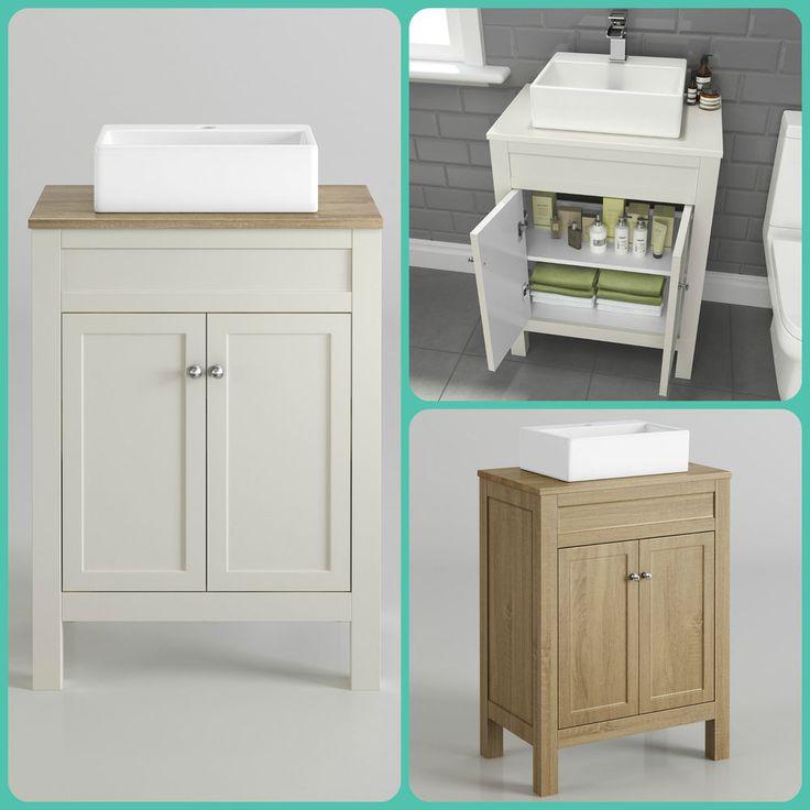 Traditional Cream & Oak Bathroom Furniture Storage Unit Counter Top Basin