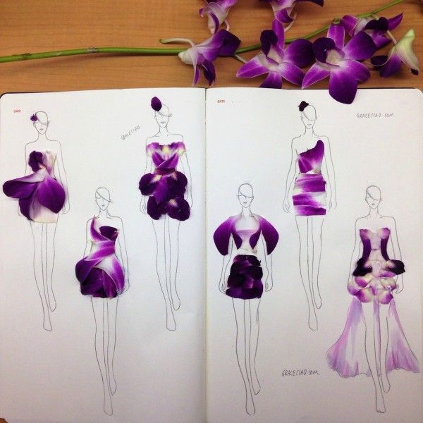 Using Real Flower Petals, Designer Creates Beautiful Fashion Illustrations