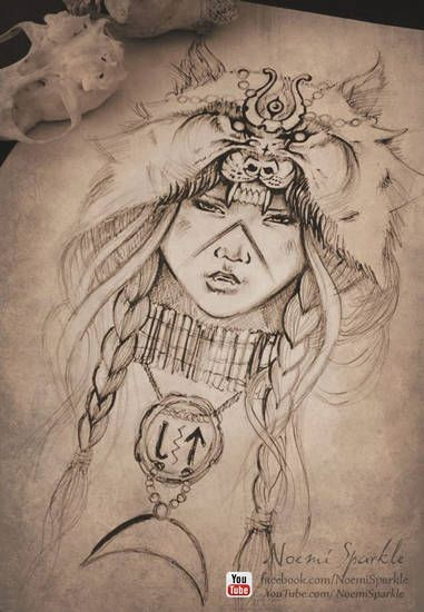#indian #wolf #woman #portrait #girl #art #drawing #realistic #howto #painting #vintage #tattoo #design #noemisparkle #youtube